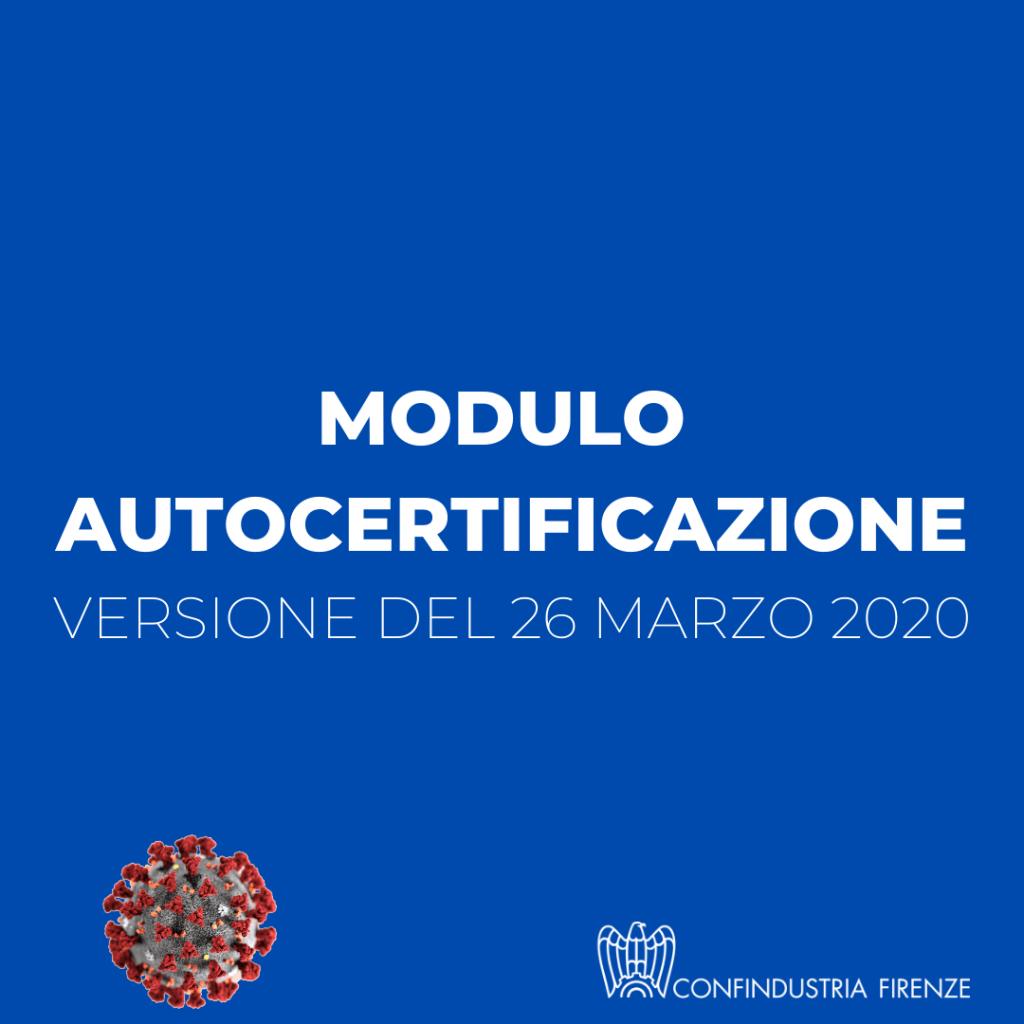 autocertificazione 26 marzo 2020