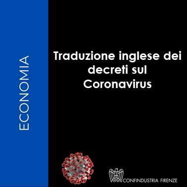 Traduzione inglese decreti Coronavirus