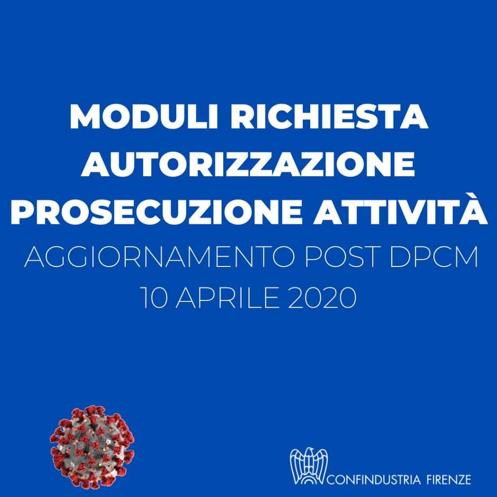 moduli prosecuzione attività post dpcm 10 aprile
