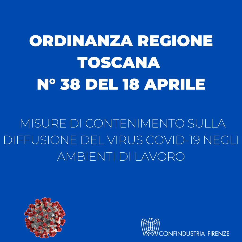 Ordinanza regione Toscana - Misure contenimento Covid-19 in ambienti lavorativi