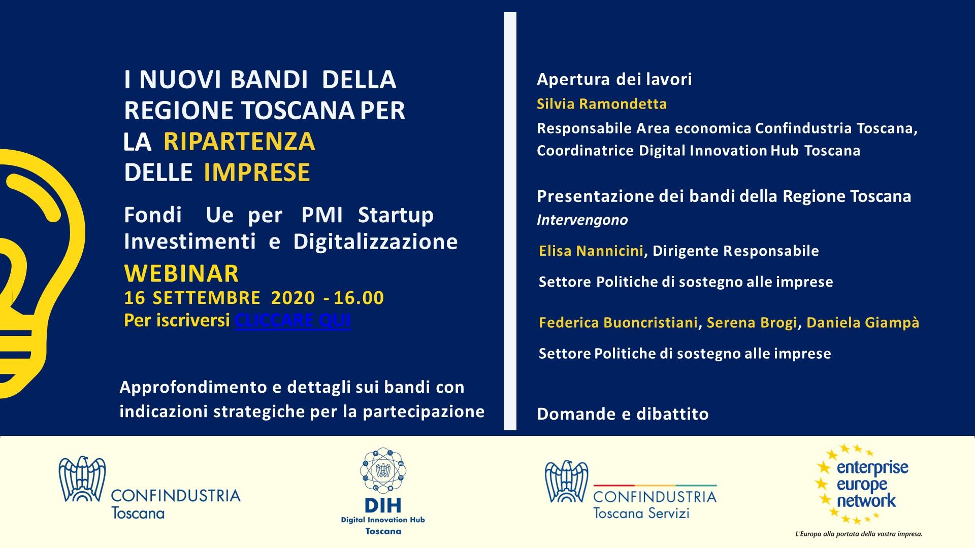 I nuovi bandi della Regione Toscana per la ripartenza delle imprese