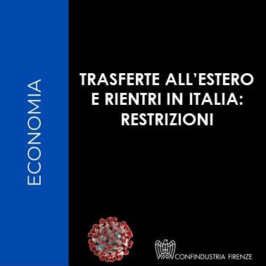 Trasferte all'estero e rientri in Italia - restrizioni